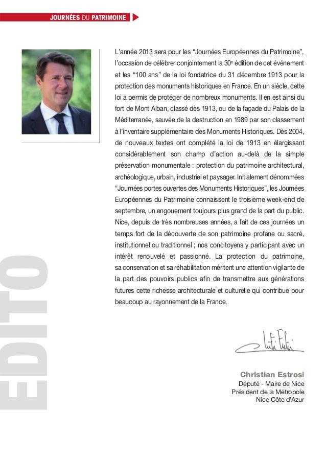 """Christian Estrosi Député - Maire de Nice Président de la Métropole Nice Côte d'Azur L'année 2013 sera pour les """"Journées E..."""