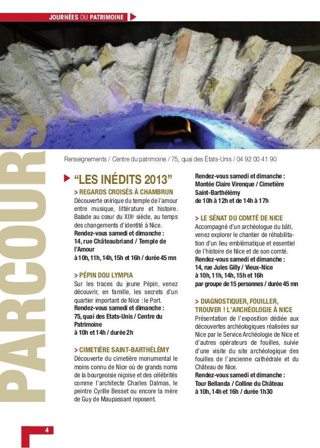 """4 """"LES INÉDITS 2013"""" Renseignements / Centre du patrimoine / 75, quai des États-Unis / 04 92 00 41 90 JOURNÉES DU PATRIMOI..."""