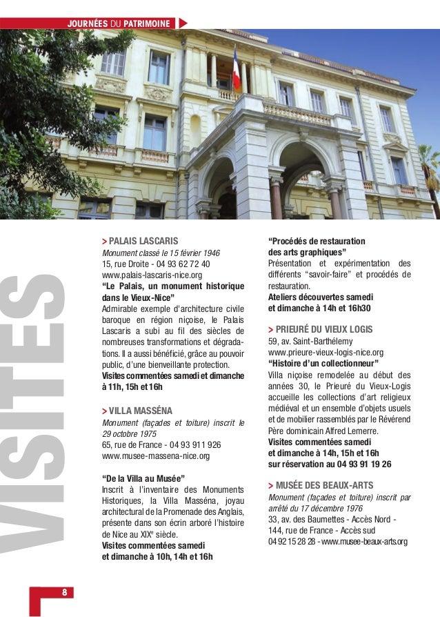 8 JOURNÉES DU PATRIMOINE > PALAIS LASCARIS Monument classé le 15 février 1946 15, rue Droite - 04 93 62 72 40 www.palais-l...