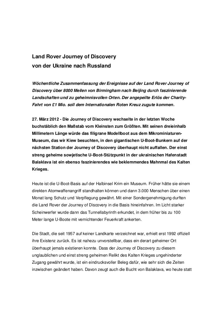 Land Rover Journey of Discoveryvon der Ukraine nach RusslandWöchentliche Zusammenfassung der Ereignisse auf der Land Rover...