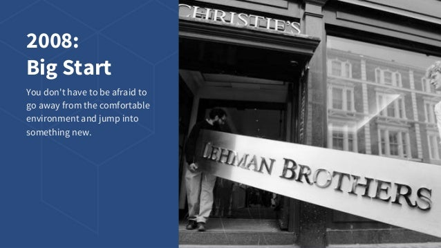 2008: Big Start You don't have to be afraid to go away from the comfortable environment and jump into something new.