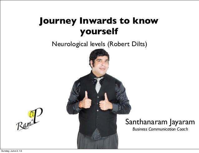 Neurological levels (Robert Dilts)Journey Inwards to knowyourselfSanthanaram JayaramBusiness Communication CoachSunday, Ju...