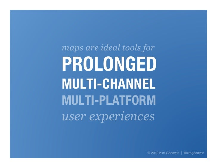 maps are ideal tools forPROLONGEDMULTI-CHANNELMULTI-PLATFORMuser experiences                          Proprietary & Confide...