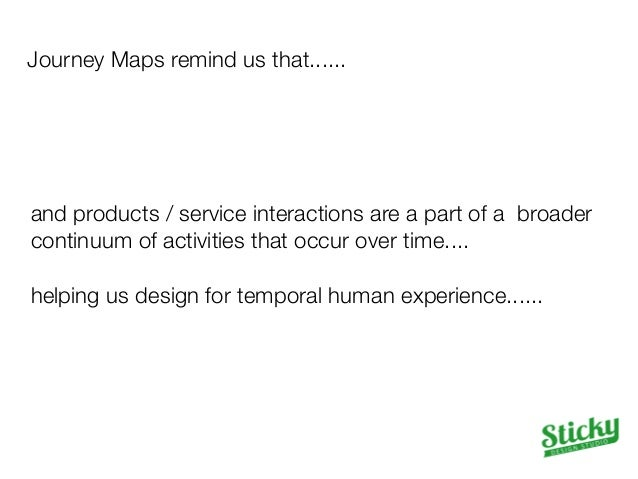 Journey Maps remind us that......  and products / service interactions are a part of a broader  continuum of activities th...