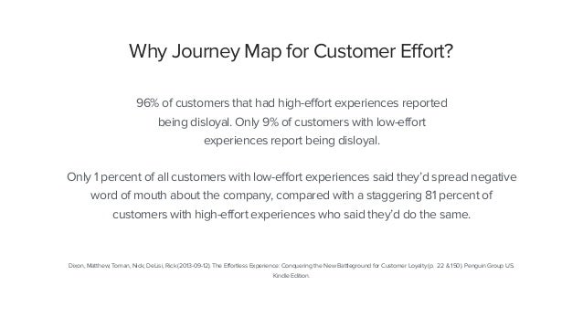 Why Journey Map for Customer Effort? 96% of customers that had high-effort experiences reported being disloyal. Only 9% of...
