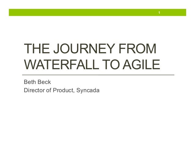 1  THE JOURNEY FROM WATERFALL TO AGILE Beth Beck Director of Product, Syncada