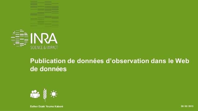 Publication de données d'observation dans le Webde donnéesEsther Dzalé Yeumo Kaboré 30/ 05/ 2013