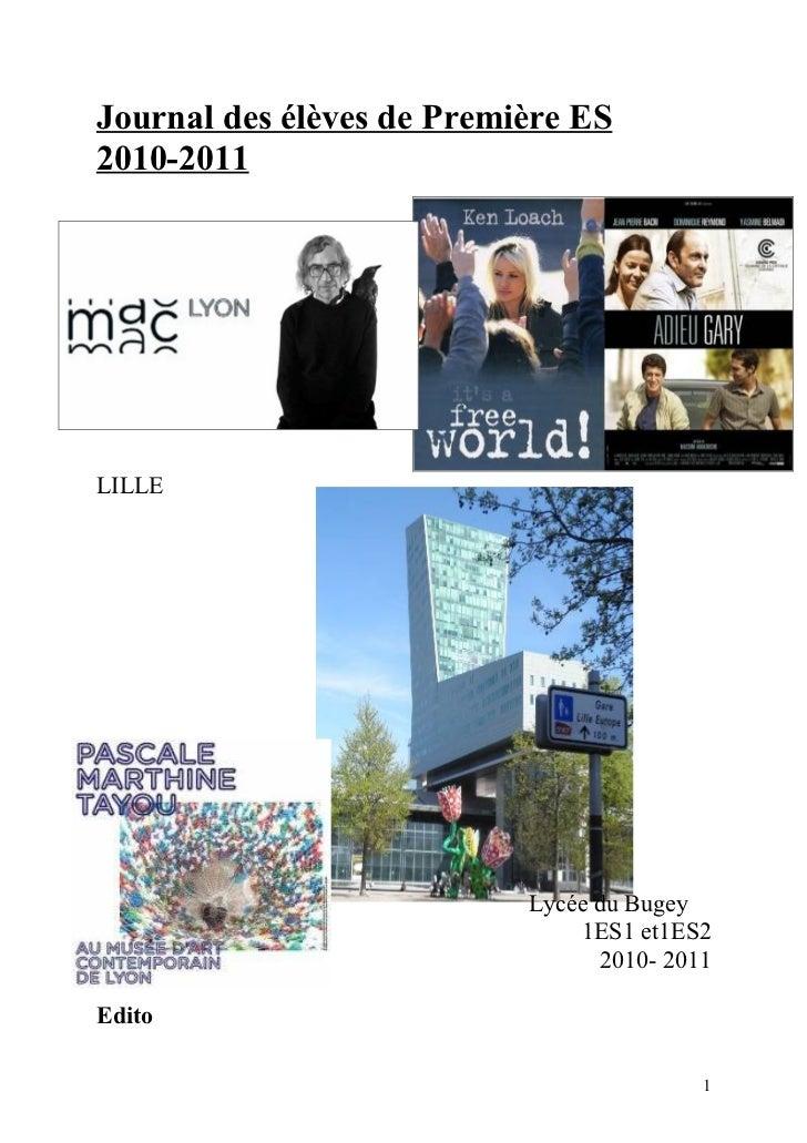 Journal des élèves de Première ES2010-2011LILLE                           Lycée du Bugey                               1ES...