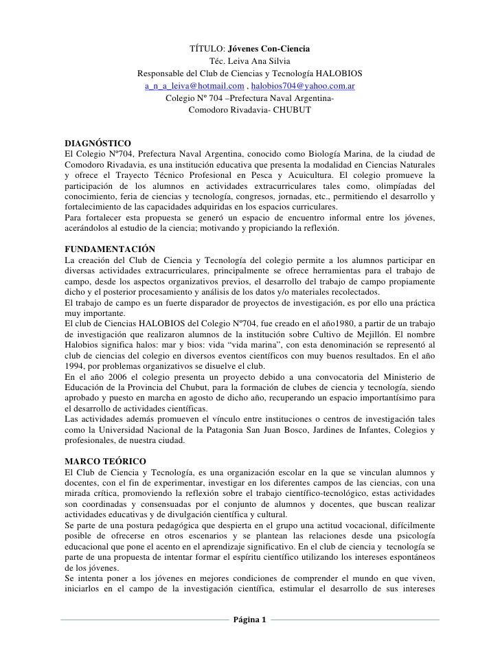 TÍTULO: Jóvenes Con-Ciencia                                      Téc. Leiva Ana Silvia                    Responsable del ...