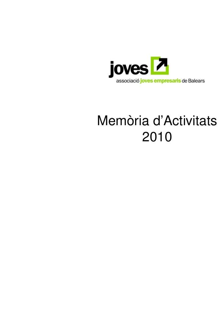 Memòria d'Activitats      2010