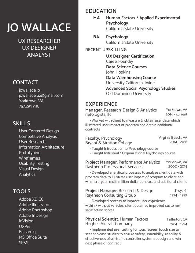Jo Wallace Resume Ux Researcher Ux Designer Analyst