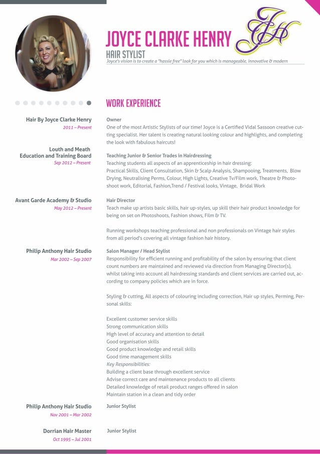 Joyce Clarke Henry Hair StylistJoyceu0027s Vision Is To Create A   Hair Stylist Resume Template