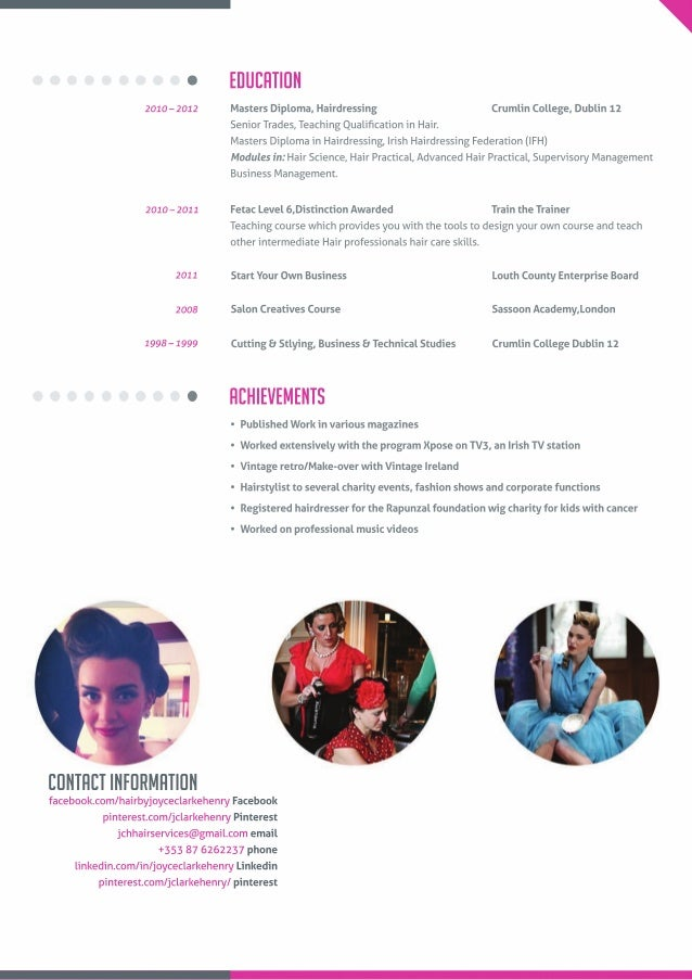 resume for hairstylist