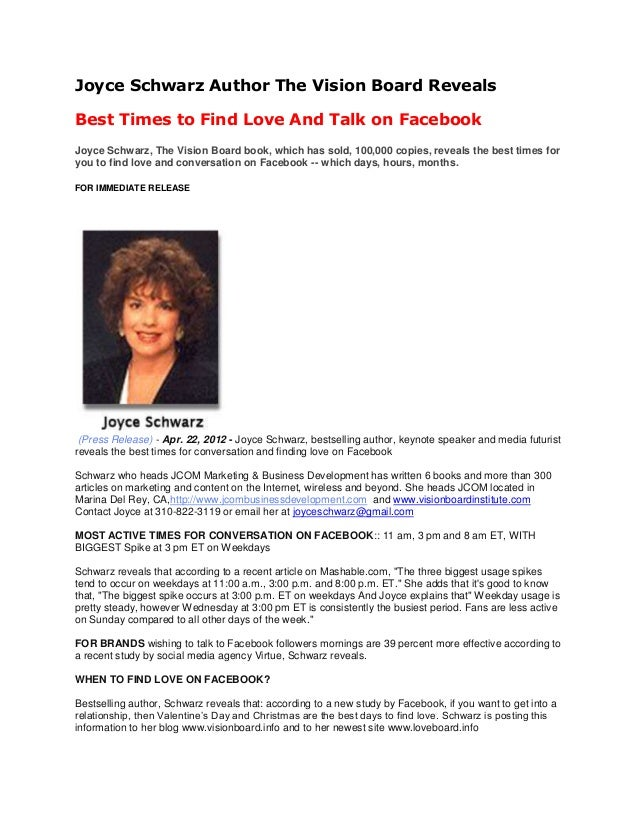 Joyce Schwarz Author The Vision Board Reveals Best Times to Find Love And Talk on Facebook Joyce Schwarz, The Vision Board...