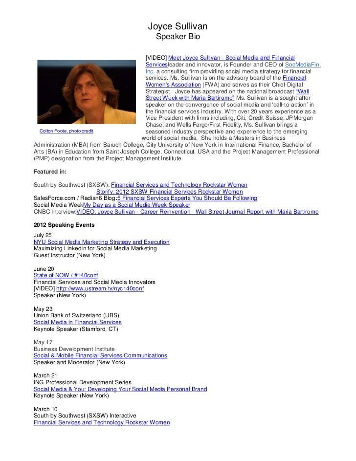 2                                           Joyce Sullivan                                                 Speaker Bio    ...