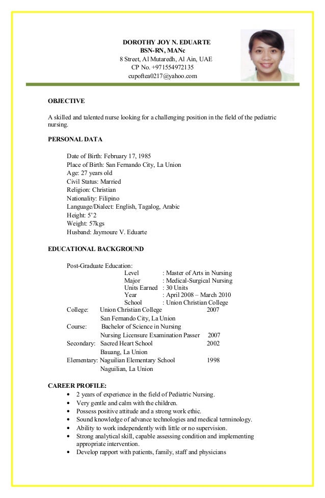 joy eduarte cv - Cv For Nurses