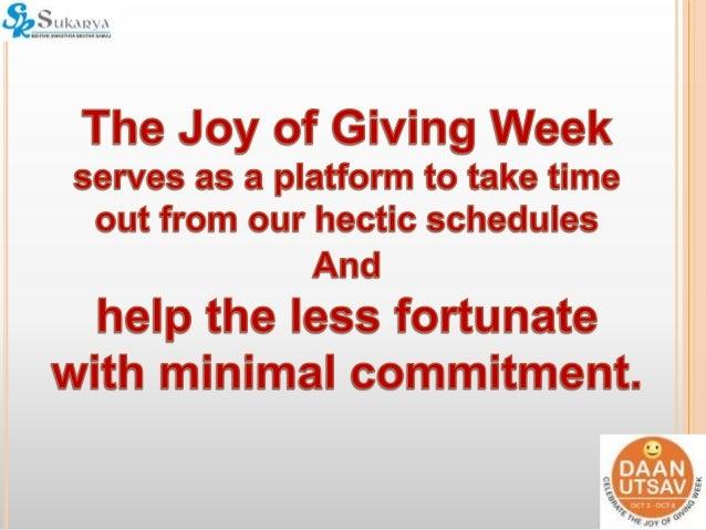 Joy In Giving: Presentation On What Corporates Can Do In Daan Utsav