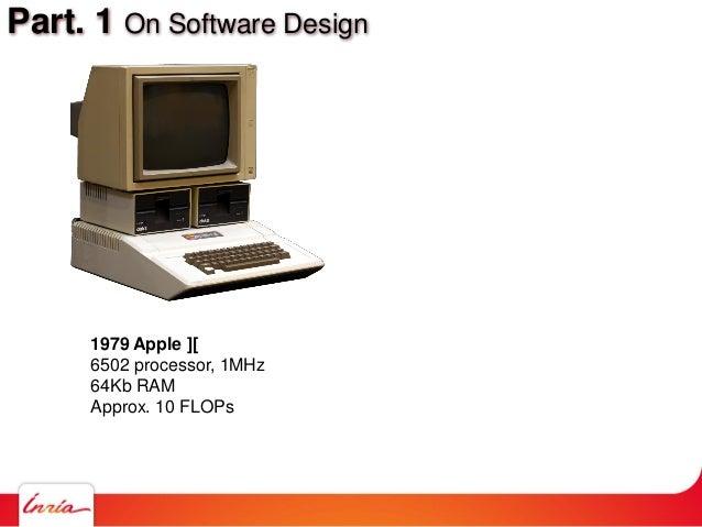Part. 1 On Software Design 1979 Apple ][ 6502 processor, 1MHz 64Kb RAM Approx. 10 FLOPs