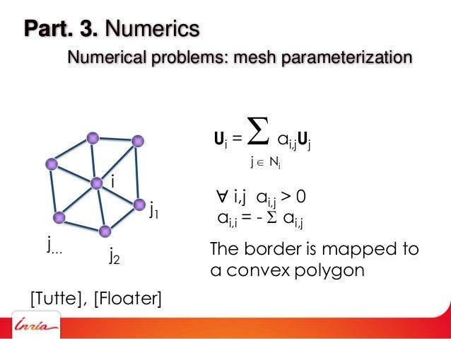 Part. 3. Numerics Numerical problems: mesh parameterization i j1 j2 j… Ui = ai,jUj j  Ni  i,j ai,j > 0 ai,i = -  ai,j ...