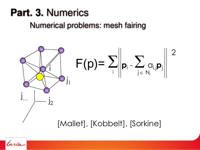 Part. 3. Numerics Numerical problems: mesh fairing i j1 j2 j… F(p)=  pi - ai,jpj 2 j  Nii [Mallet], [Kobbelt], [Sorkine]