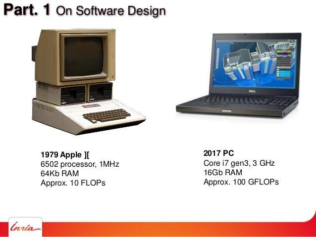 Part. 1 On Software Design 1979 Apple ][ 6502 processor, 1MHz 64Kb RAM Approx. 10 FLOPs 2017 PC Core i7 gen3, 3 GHz 16Gb R...