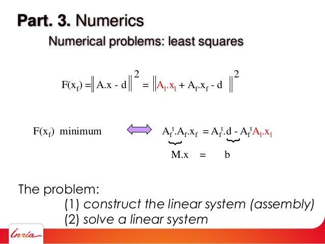 Part. 3. Numerics Numerical problems: least squares F(xf) = A.x - d = Al.xl + Af.xf - d 2 2 F(xf) minimum Af t.Af.xf = Af ...