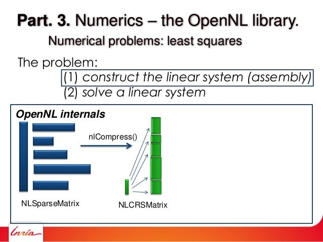 Part. 3. Numerics – the OpenNL library. Numerical problems: least squares The problem: (1) construct the linear system (as...