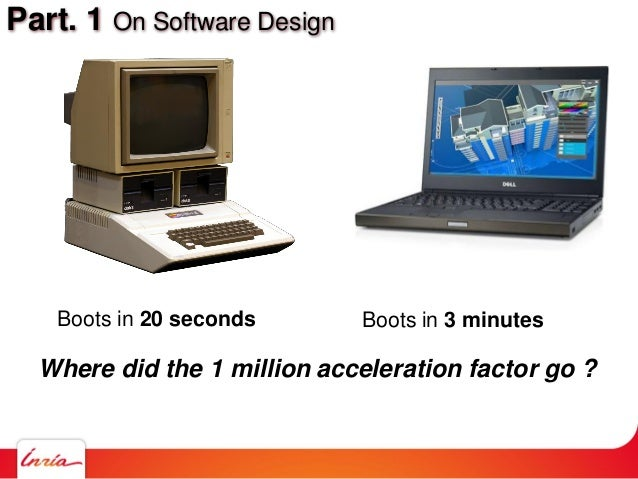 Part. 1 On Software Design Boots in 20 seconds Boots in 3 minutes Where did the 1 million acceleration factor go ?