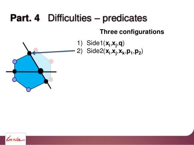 Part. 4 Difficulties – predicates Three configurations 1) Side1(xi,xj,q) 2) Side2(xi,xj,xk,p1,p2) 3) Side(xi,xj,q) where q...