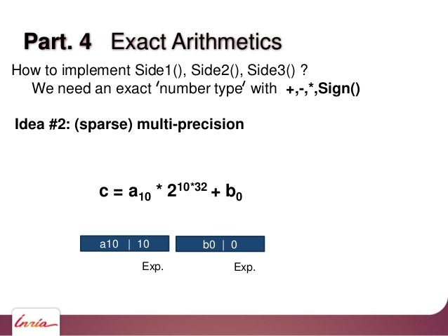 Part. 4 Exact Arithmetics How to implement Side1(), Side2(), Side3() ? We need an exact number type with +,-,*,Sign() Idea...