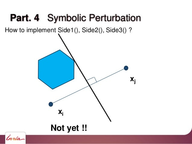 Part. 4 Symbolic Perturbation How to implement Side1(), Side2(), Side3() ? xi xj Not yet !!