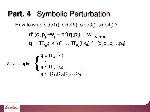 How to write side1(), side2(), side3(), side4() ? d2(q,pj)-wj – d2(q,pi) + wi where: q = πw(i,k1) ∩ …πw(i,kd) ∩ [p1,p2,p3…...