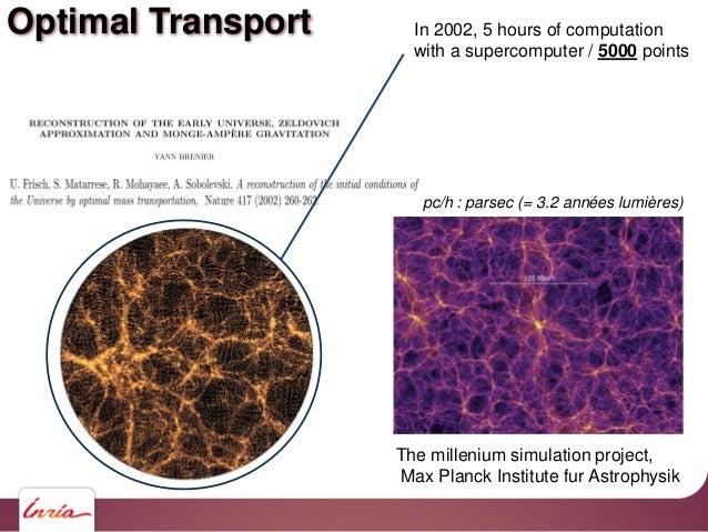 Optimal Transport The millenium simulation project, Max Planck Institute fur Astrophysik pc/h : parsec (= 3.2 années lumiè...