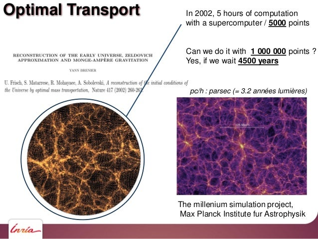 Optimal Transport In 2002, 5 hours of computation with a supercomputer / 5000 points Can we do it with 1 000 000 points ? ...