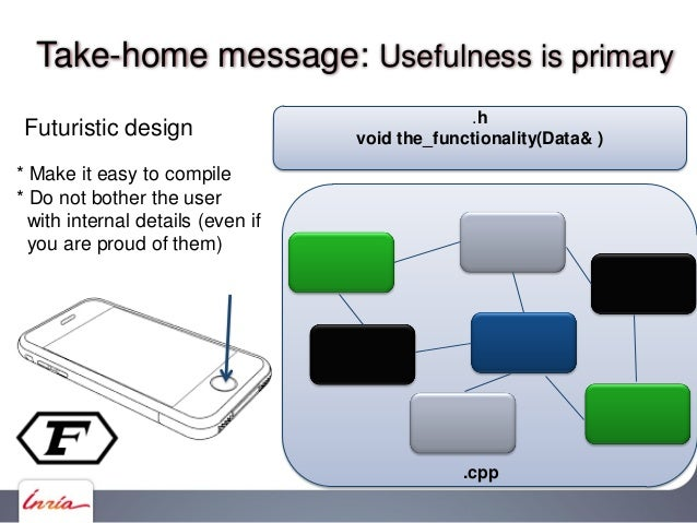 Take-home message: Usefulness is primary .cpp GLUP.h – C API glupBegin(), glupEnd(), glupVertex() GLUP state variablesVani...