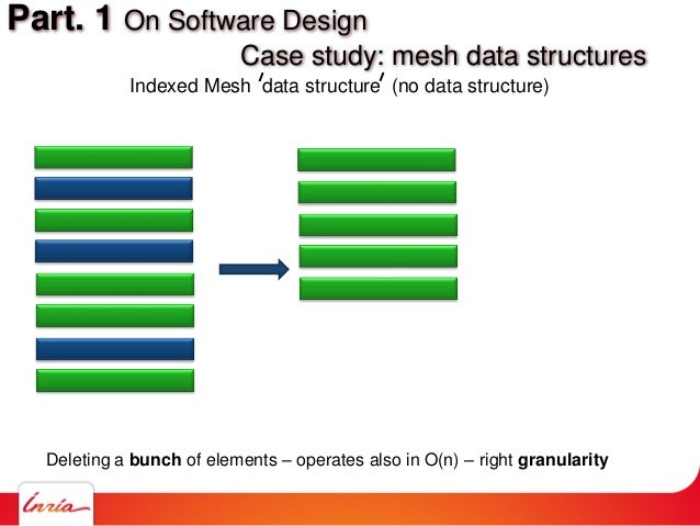 Deleting a bunch of elements – operates also in O(n) – right granularity Part. 1 On Software Design Case study: mesh data ...