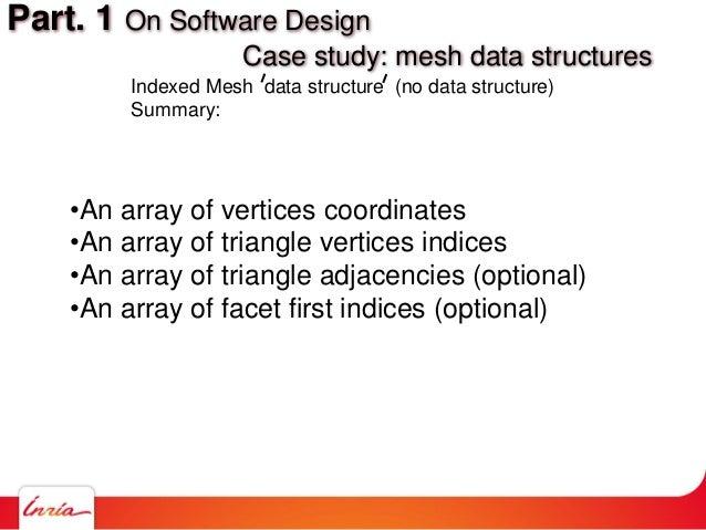 •An array of vertices coordinates •An array of triangle vertices indices •An array of triangle adjacencies (optional) •An ...