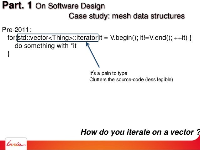 Pre-2011: for(std::vector<Thing>::iterator it = V.begin(); it!=V.end(); ++it) { do something with *it } Part. 1 On Softwar...