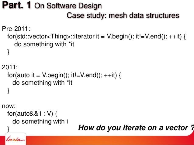 Pre-2011: for(std::vector<Thing>::iterator it = V.begin(); it!=V.end(); ++it) { do something with *it } 2011: for(auto it ...