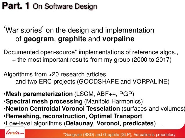 Part. 1 On Software Design War stories on the design and implementation of geogram, graphite and vorpaline Documented open...