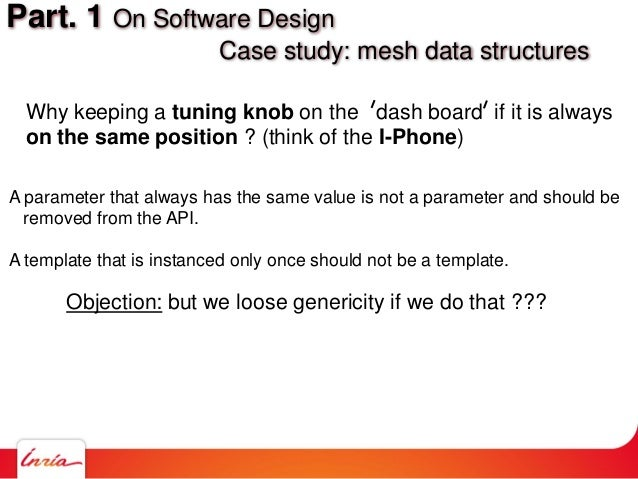 Part. 1 On Software Design Case study: mesh data structures A parameter that always has the same value is not a parameter ...