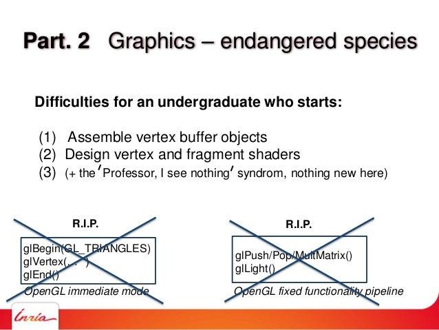Part. 2 Graphics – endangered species glBegin(GL_TRIANGLES) glVertex(… ) glEnd() OpenGL immediate mode glPush/Pop/MultMatr...