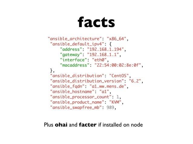 modules Plus many more: provisioning, contrib, etc. add_host apt apt_key apt_repository assemble async_status authorized_k...