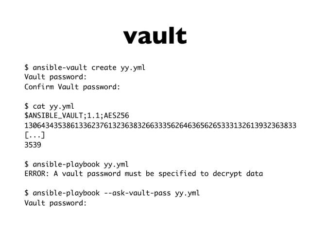 API: task execution #!/usr/bin/env python import ansible.runner import sys res = ansible.runner.Runner( pattern='a1*', mod...