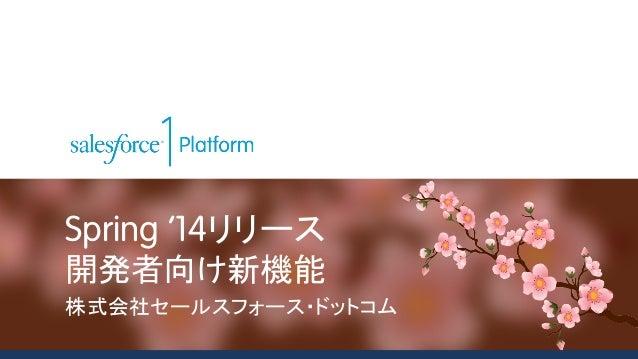 Spring '14リリース 開発者向け新機能 株式会社セールスフォース・ドットコム