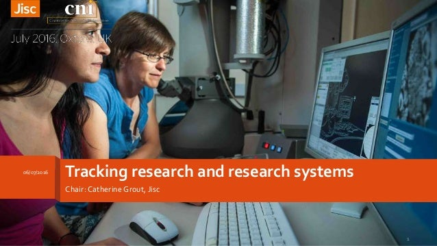 Tracking research and research systems Chair: Catherine Grout, Jisc 06/07/2016 1