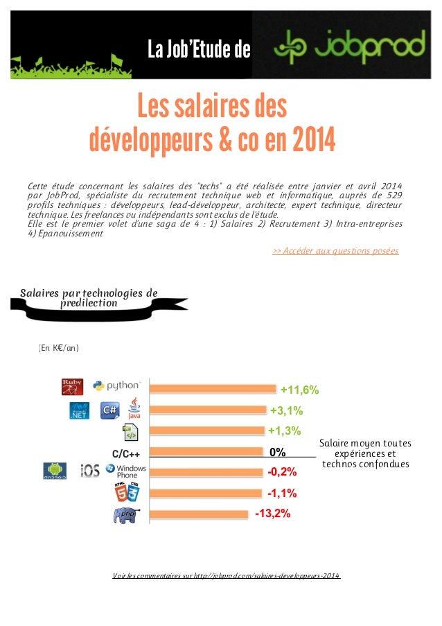 """La Job'Etudede Cette étude concernant les salaires des """"techs"""" a été réalisée entre janvier et avril 2014 par JobProd, spé..."""