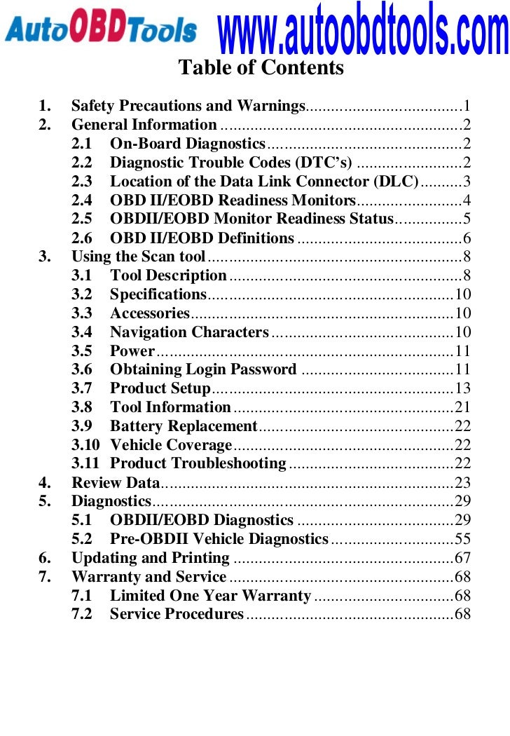 www.autoobdtools.com                           Table of Contents1.   Safety Precautions and Warnings.........................