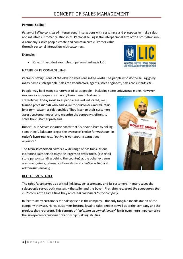 Concepts Of Sales Management