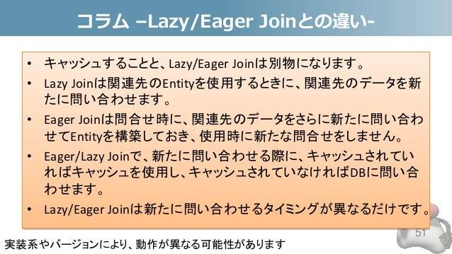 コラム –Lazy/Eager Joinとの違い- • キャッシュすることと、Lazy/Eager Joinは別物になります。 • Lazy Joinは関連先のEntityを使用するときに、関連先のデータを新 たに問い合わせます。 • Eage...